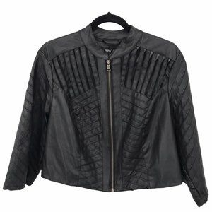 New Look Mesh Cut Out Crop Faux Leather Jacket 1X
